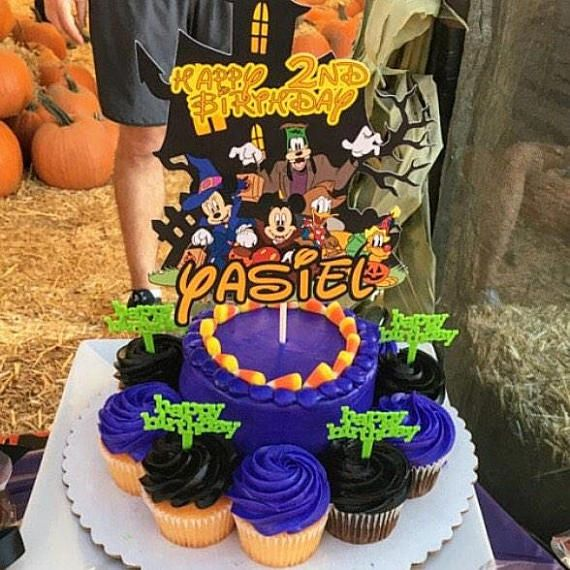 Halloween Cake Topper,Mickey mouse halloween Cake Topper,Minnie - cake decorations for halloween