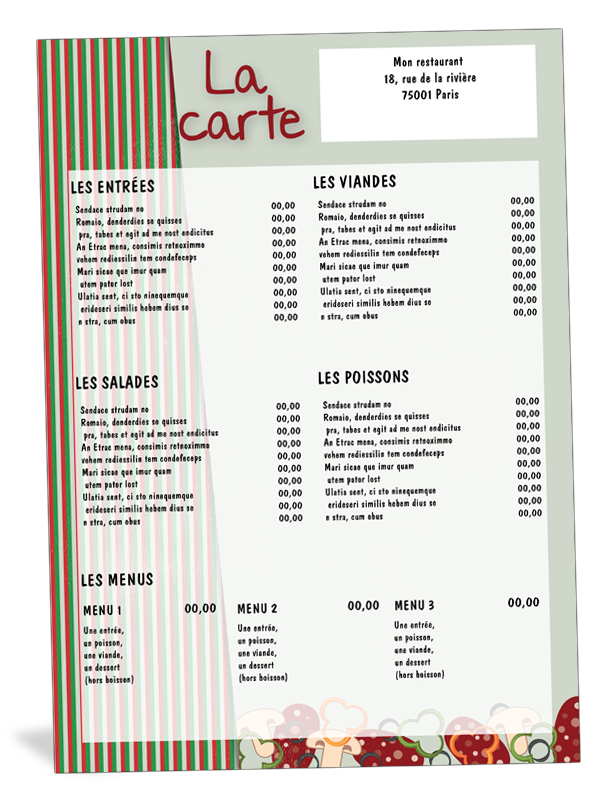 carte de menu de restaurant italien restaurants cartes de menu menu et restaurant italien. Black Bedroom Furniture Sets. Home Design Ideas