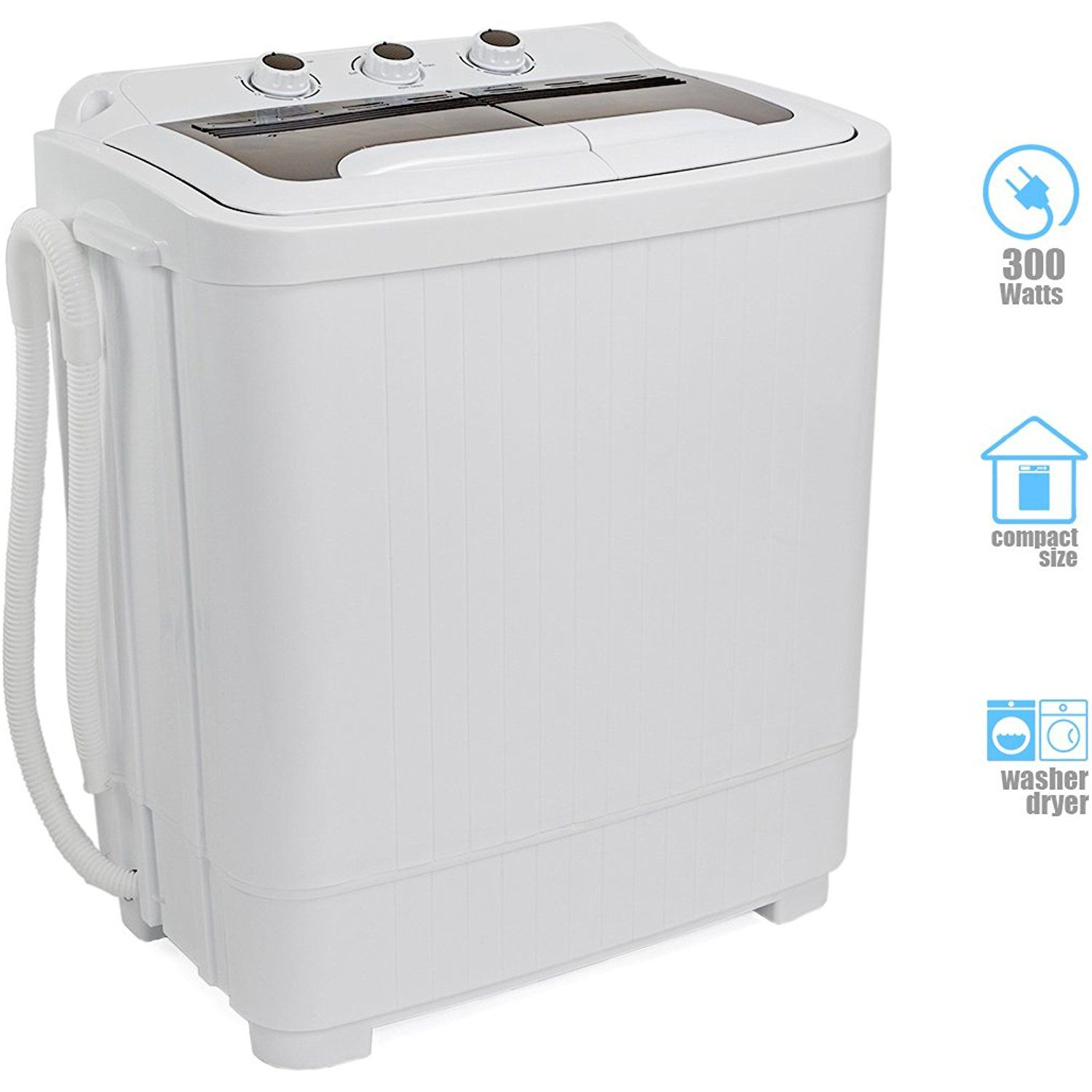 Portable Compact Washer And Spin Dry Cycle With Built In Pump 300w Apartment Washer Spinning Dryer With Images Compact Washer Apartment Washer Whirlpool Bathtub