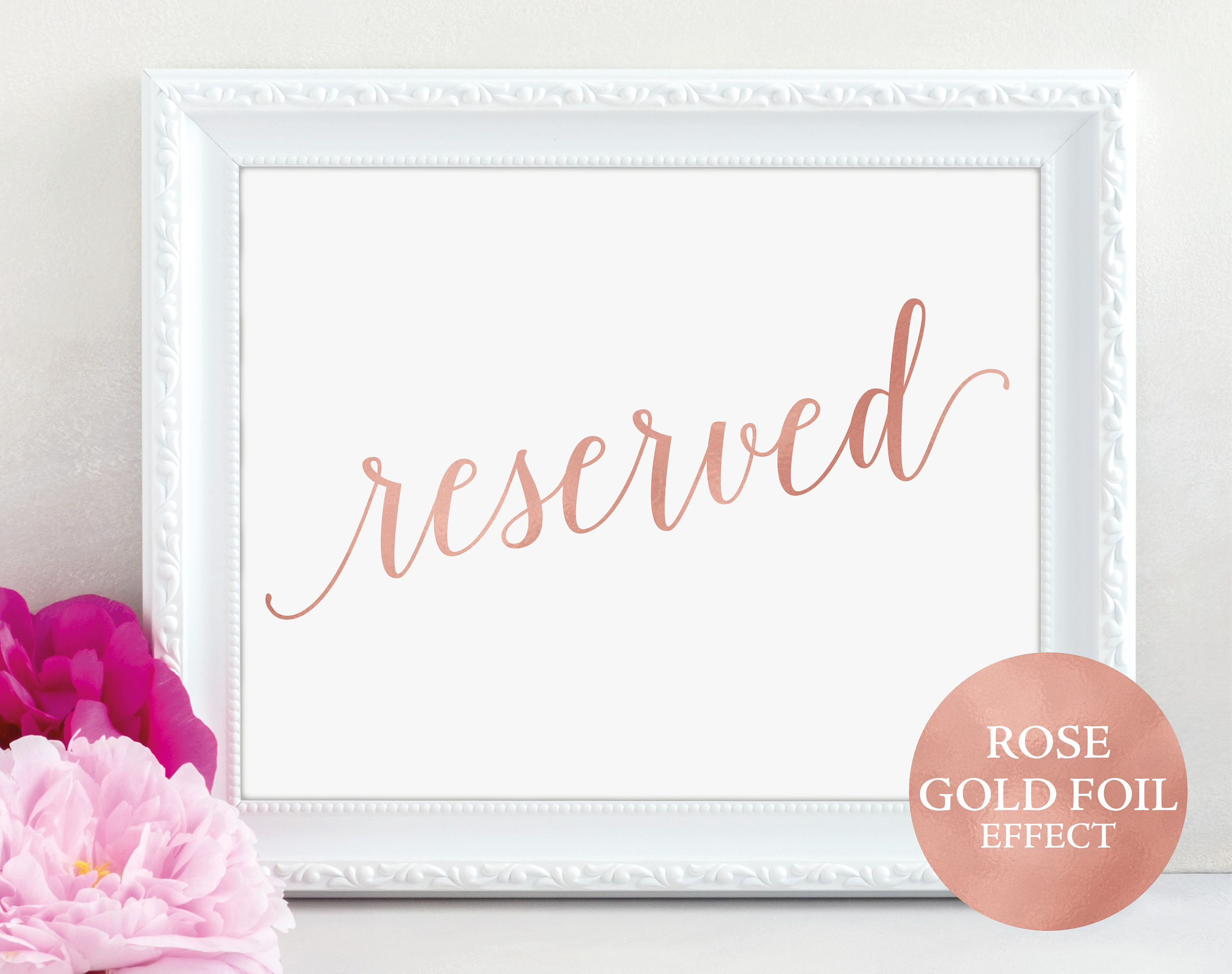 Rose Gold Reserved Table Sign, Reserved Printable
