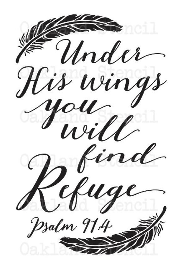 Inspirational STENCIL**Under His wings you will fi