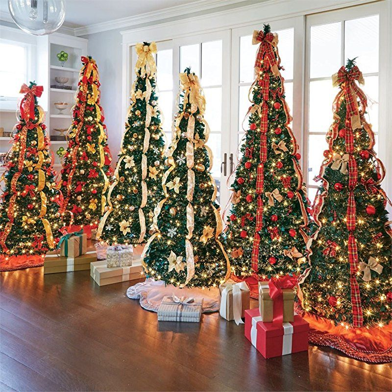 fake pop up already decorated christmas tree ideas