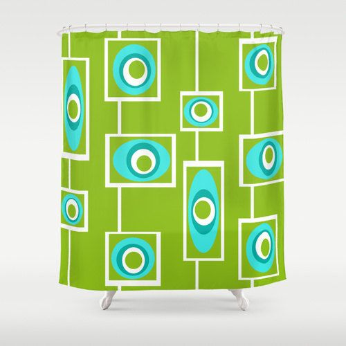 Green  Shower Curtain, Mid Century Modern Shower Curtain, Geometric  Shower Curtain, Modern  Shower Curtain, Funky Shower Curtain