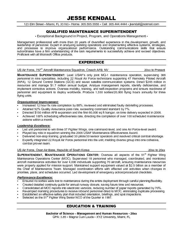 resumes maintenance supervisor - Google Search | tom | Pinterest ...
