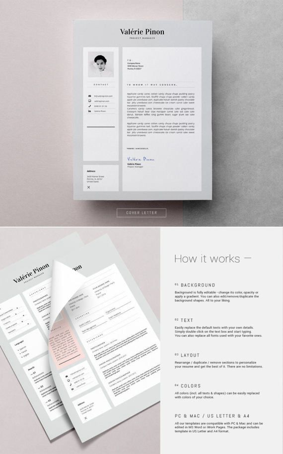 Stylish Resume Template Feminine Resume Design Cover Letter 3