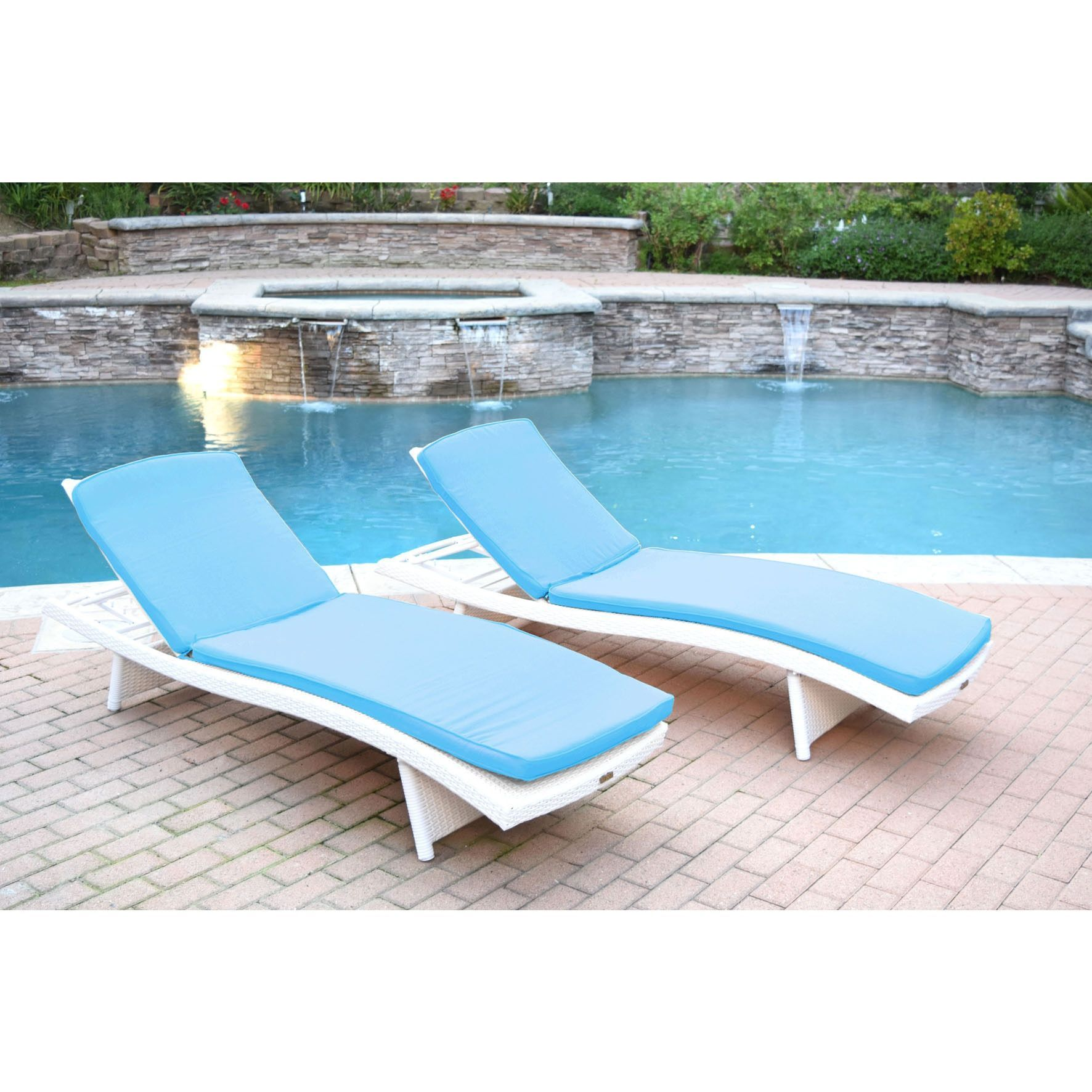 White Wicker Adjustable Chaise Lounger With Cushions Set Of 2