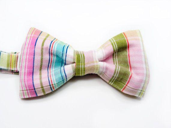 Kids Bow Tie  plaid pink green madras bowtie  Baby by nicebuzz