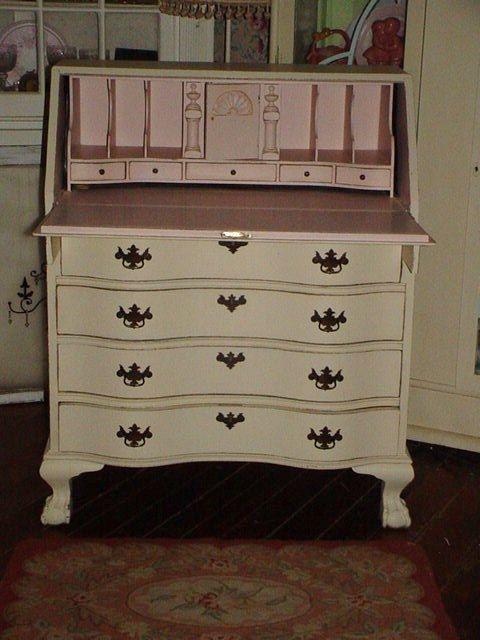 52949c772 Antique Desk Painted Drop Front Secretary by SimplyCottageChic ...
