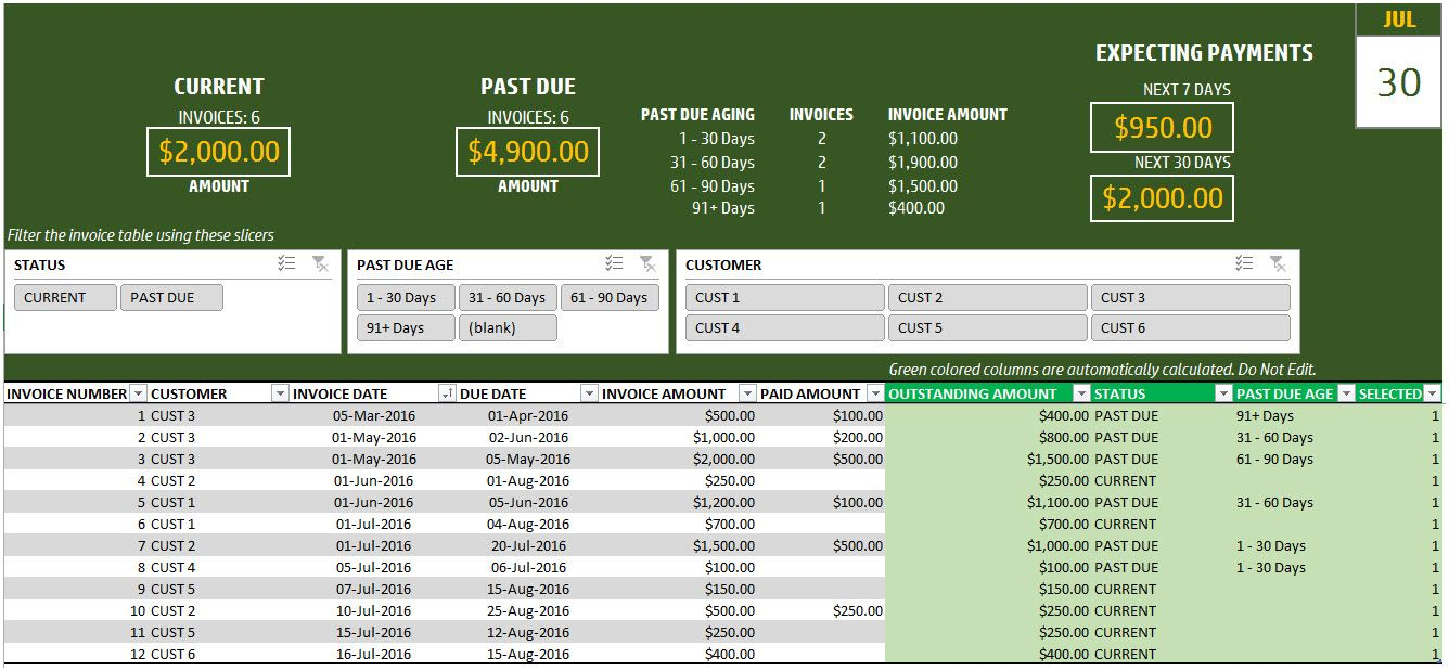 Invoice Payment Tracking Spreadsheet Business Templates