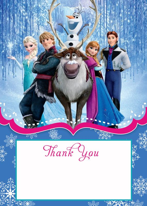 Frozen Birthday Invites Thank You Card 5x7 Instant Download On Etsy 6 00