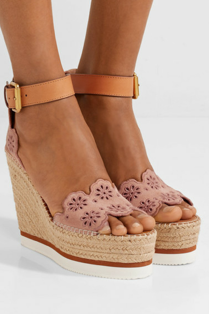 c53f8003847 See By Chloé - Leather and embroidered suede espadrille wedge ...