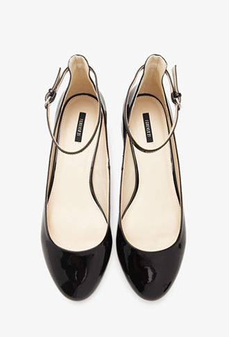 0b99bd380 Faux Patent Leather Ankle Strap Flats - NEW ARRIVALS - SHOES - 2000132679 - Forever  21 UK
