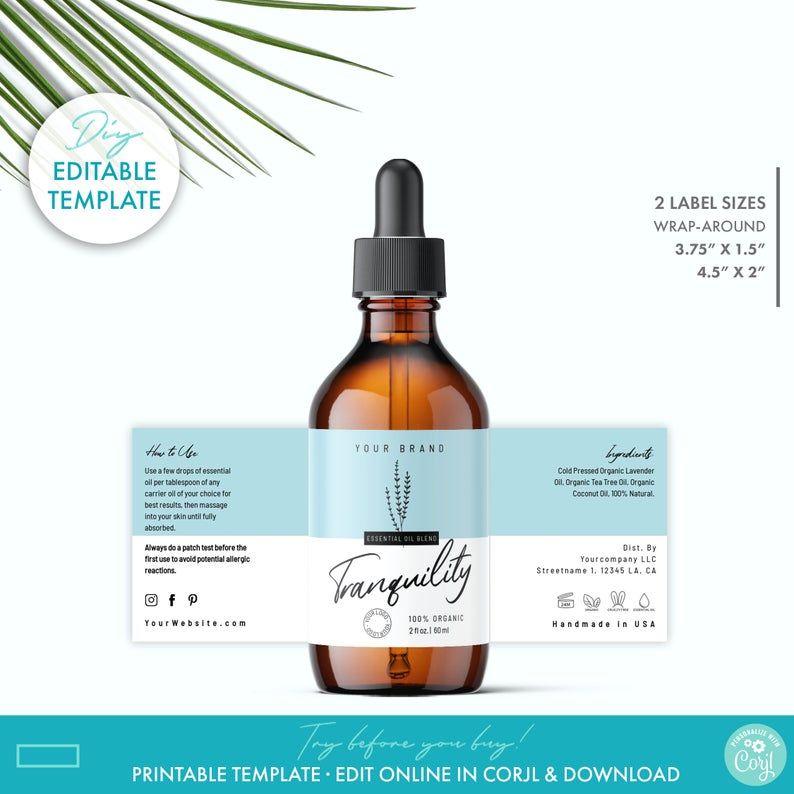 Editable 1 Oz 2oz 4oz Dropper Bottle Label Template 2 Etsy Desain Kemasan Kemasan Desain