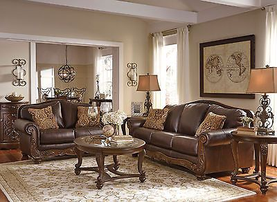 Romano Traditional Brown Real Leather Sofa Couch Set Living Room New Furniture Living Room