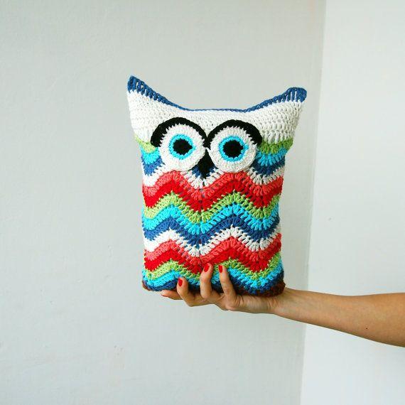 Crochet PATTERN owl toy cuddle pillow, owl soft toy, chevron ripples ...
