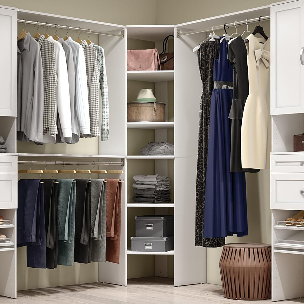 Best Closetmaid Style 25 In W White Corner Wood Closet Tower 640 x 480