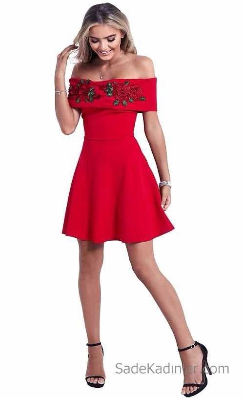 2021 Kirmizi Abiye Elbise Modelleri Cekiciligin Adresikirmizi Elbise Omzu Acik Nakis Islemeli Kisa Party Elbisesi The Dress Kadin Kiyafetleri Elbise