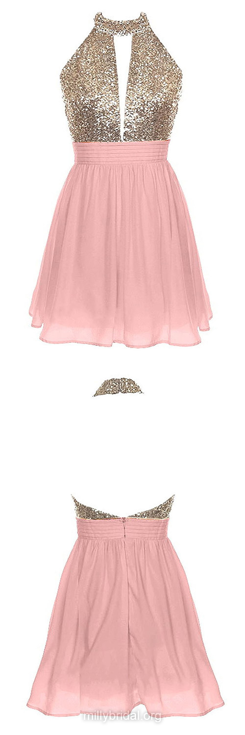 Cute Pink Homecoming Dresses,A-line Halter Party Gowns,Chiffon ...