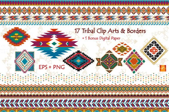 FREE DOWNLOAD: Tribal Clip Art & Border- EPS + PNG by JSquarePresents on Creative Market