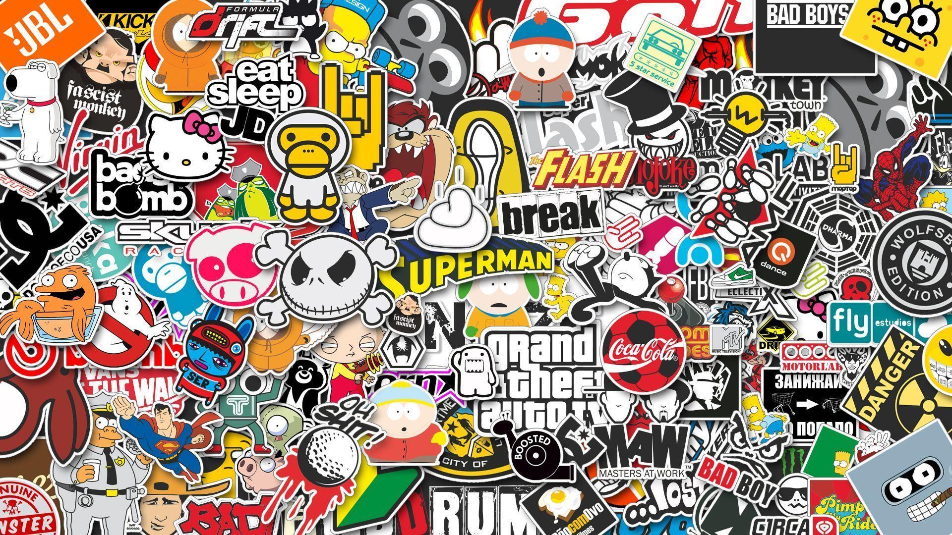Download Wallpaper 1920x1080 Stickers, Style, Jdm Full HD