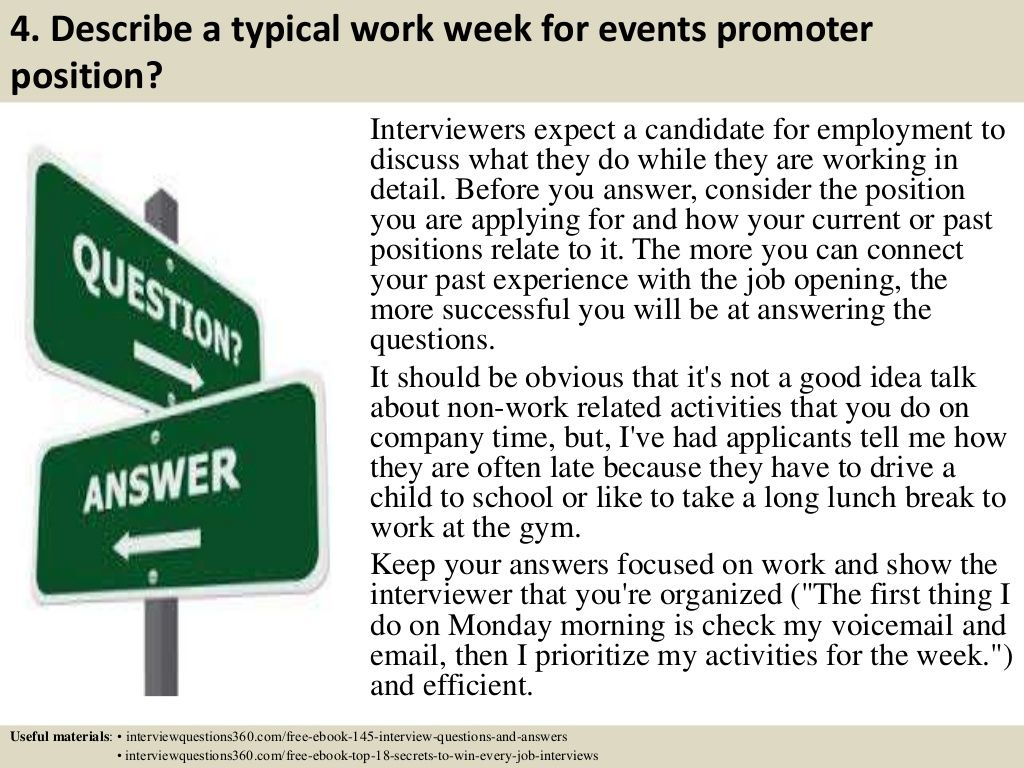 Describe A Typical Work Week For Events Promoter Position
