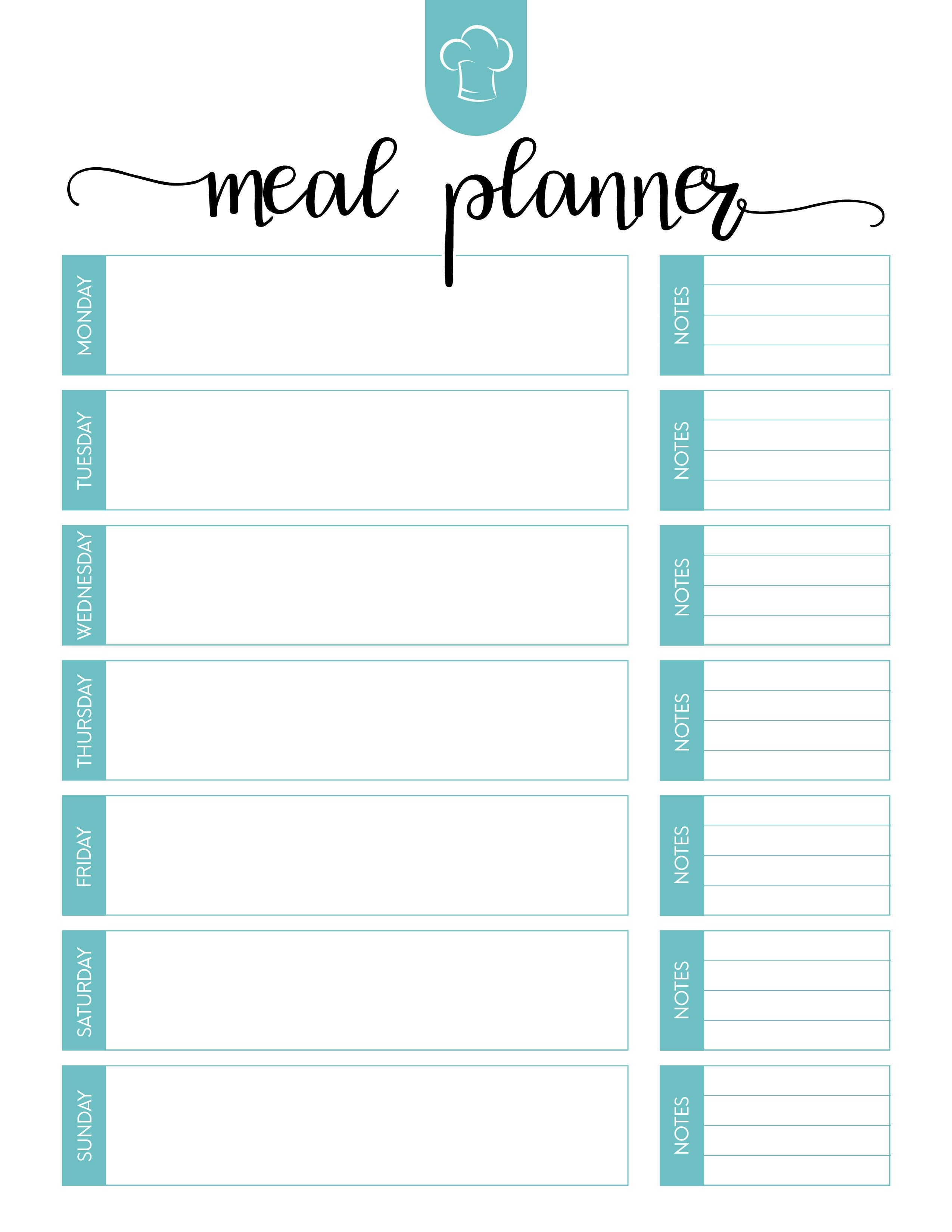 Free Printable Meal Planner Set Weekly meal planner