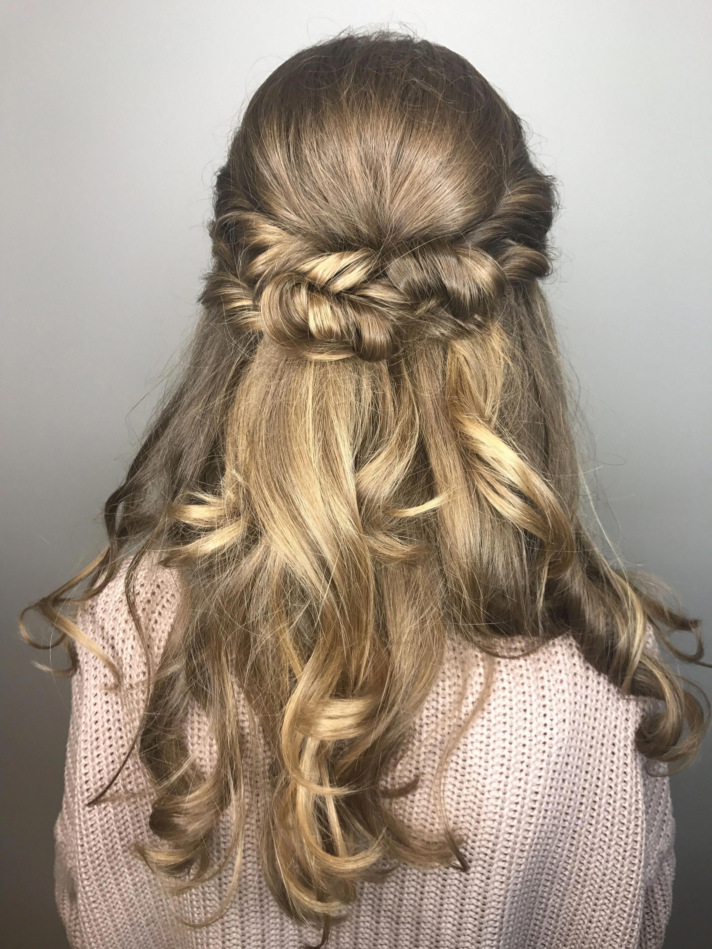 Half up twist half down prom hair with curls # ...