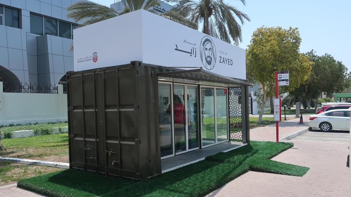 Some of Abu Dhabi's new bus stops are modified shipping