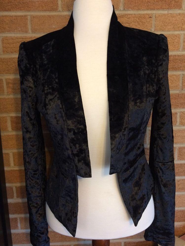 Decree Tuxedo Bolero type jacket Crushed Velour Soft open Black NWT STEAMPUNK #Decree #JacketsCoatsCloaks