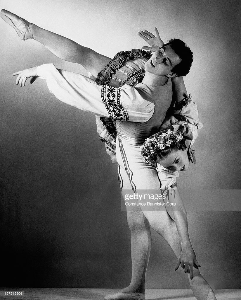 Russian ballerina Irina Baronova (1919 - 2008) and her partner Anton Dolin appear in the ballet 'Coppelia' at the Metropolitan Opera in New York City, 1945.