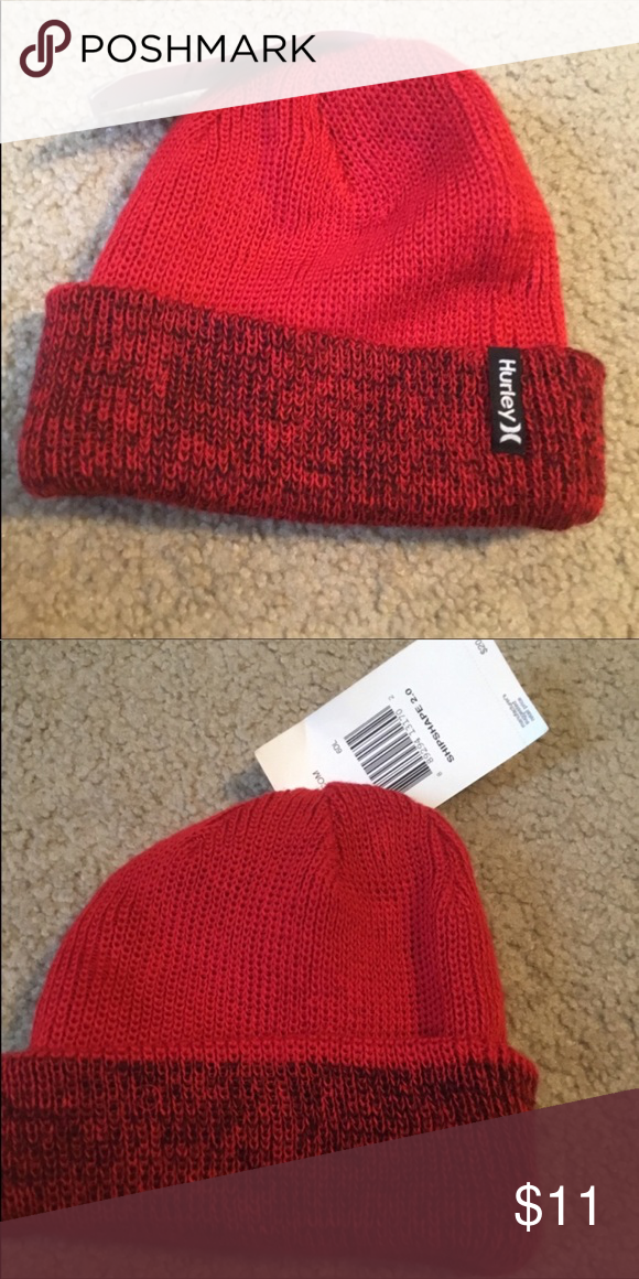 New men s Hurley beanie winter hat cap red OS New with Tags Men s Hurley hat  Red One size Hurley Accessories Hats ef6bc2aed5b