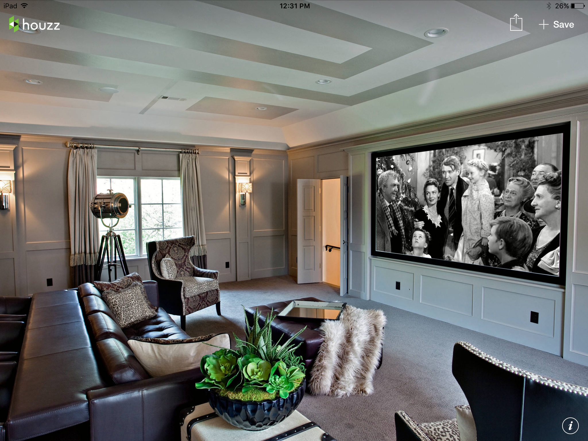 Formal Mediafamily Room With Large Projection Screen