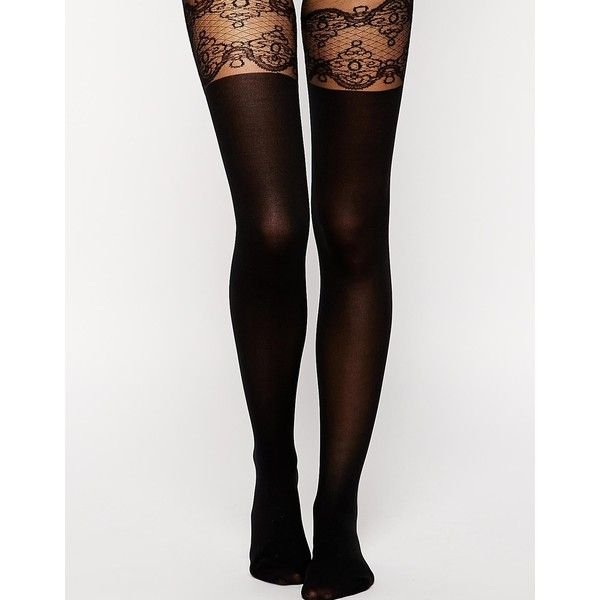ASOS Decorative Suspender Tights With Support Detail (€6,86) ❤ liked on Polyvore