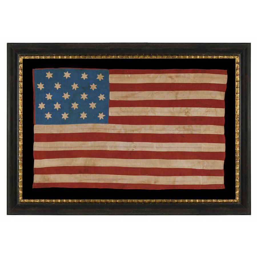 Jeff Bridgman Antique Flags And Painted Furniture 20 Six Pointed Stars And 15 Stripes On An Antique American Flag Made To Ce American Flag Flag America Decor