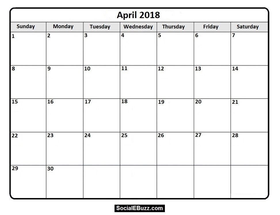 April  Printable Calendar HttpSocialebuzzComApril