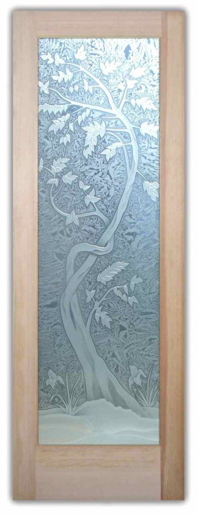 Interior glass door cherry tree 3d carved etched glass - Decorative interior doors with glass ...