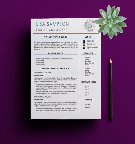 Modern Resume Template Teal Accents Resume by WaterstoneDigitals - resume with accents