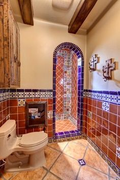 Ideas For The House On Pinterest Walk In Shower Spanish Spanish Style Bathrooms Mexican Kitchen Decor Mexican Tile Bathroom