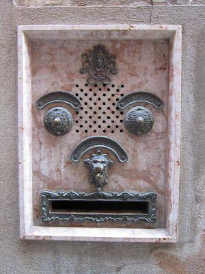 Wonderful vintage door handle and mail slot