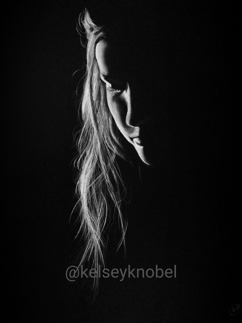 White charcoal on black paper drawing by kelseyknobel unknown