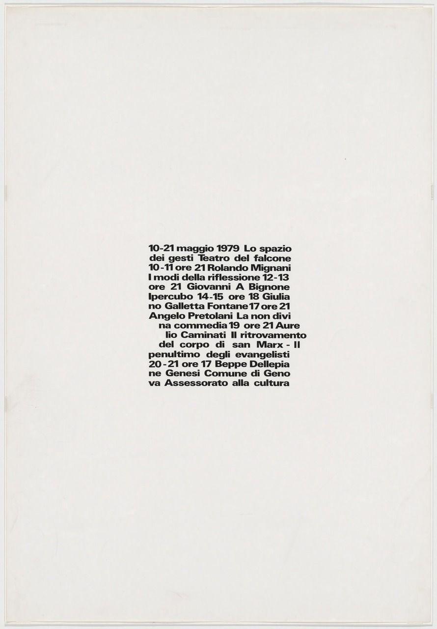AG Fronzoni, Lo spazio dei gesti, 1979