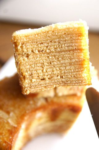Baumkuchen with burnt caramel on top