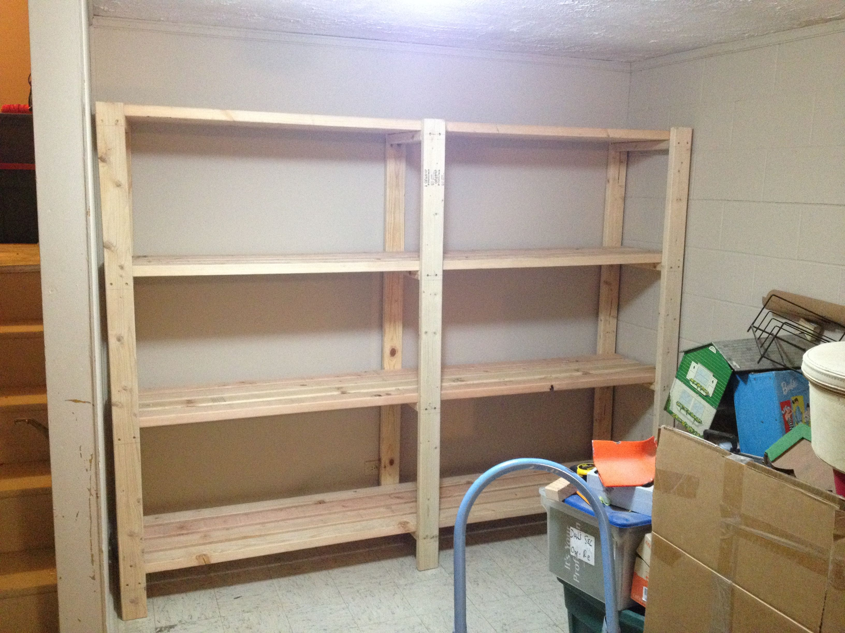 2 x 4 garage shelves built into basement storage do it for Garage plans with storage