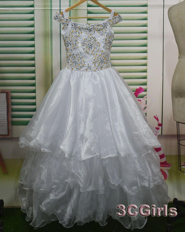 flower girl dress cute white tulle long girl dress rhinestones