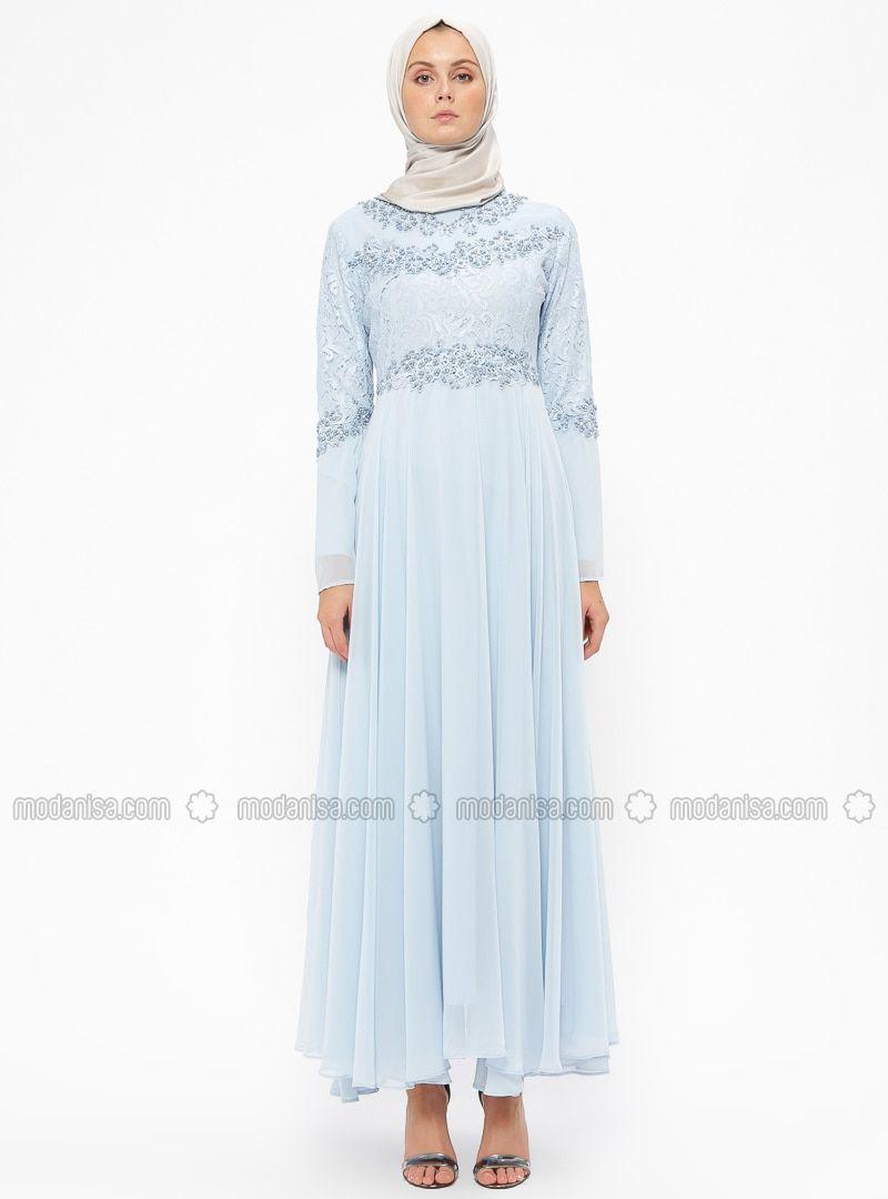 bb791e1117 Blue - Fully Lined - Crew neck - Muslim Evening Dress