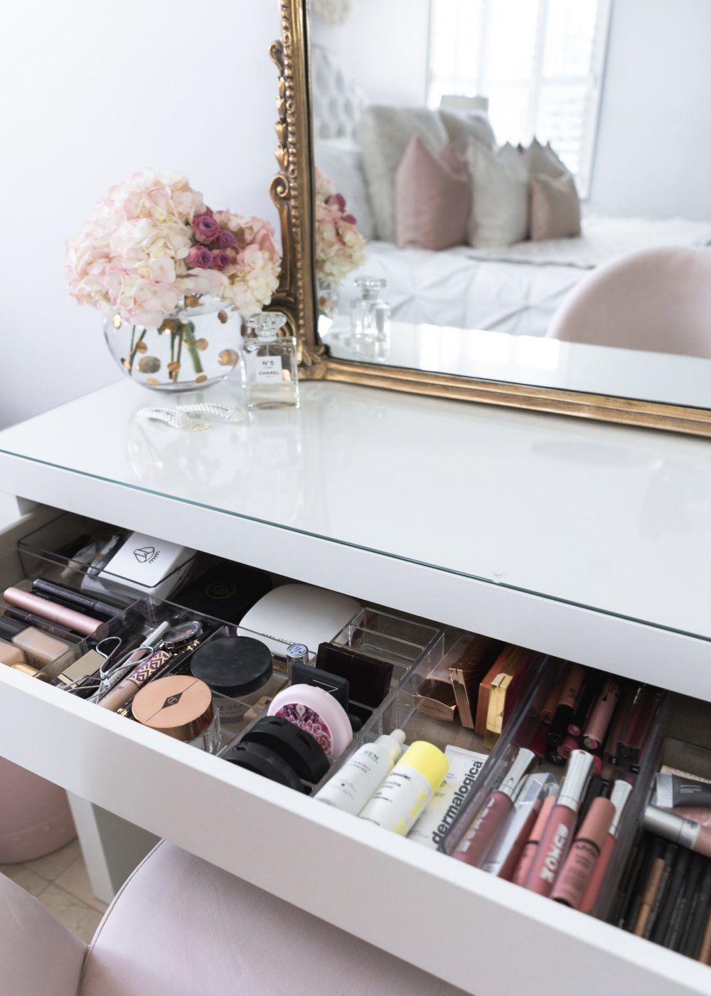 how i organize my makeup in vanity the fancy things malm dressing table ikea bed design wooden 2019