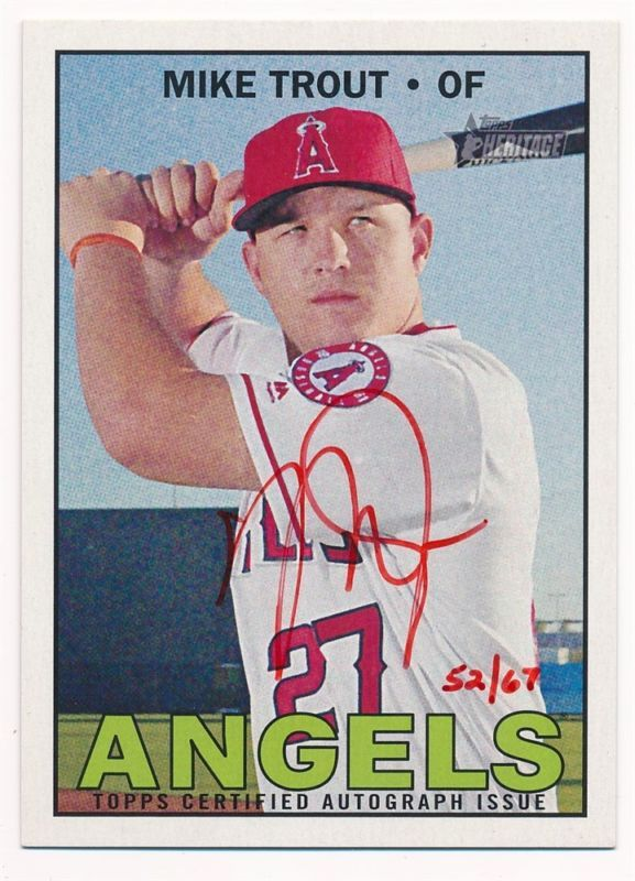 Mike Trout 2016 Topps Heritage Real One Red Ink Autograph Sp Auto
