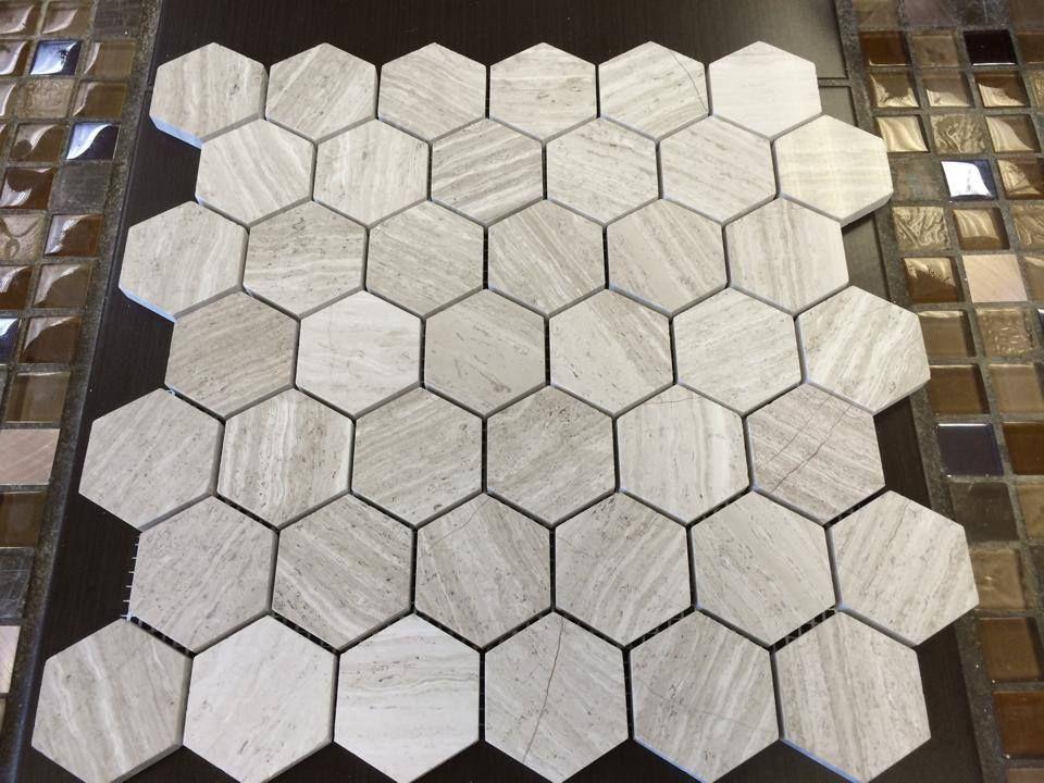 Gl Tile Marble Hexagon Mosaic Wooden White 2 12