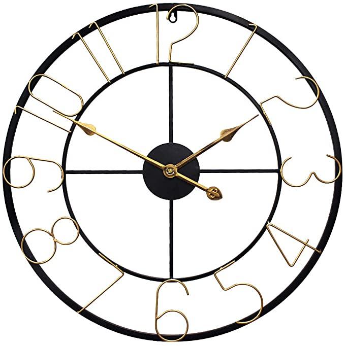 Growsun Large Wall Clock 24 Inch Light Luxurious Home Decor Silent Black Metal Retro Gold Clock Furn In 2021 Wall Clock Light Wall Clock Silent Large Wall Clock Decor