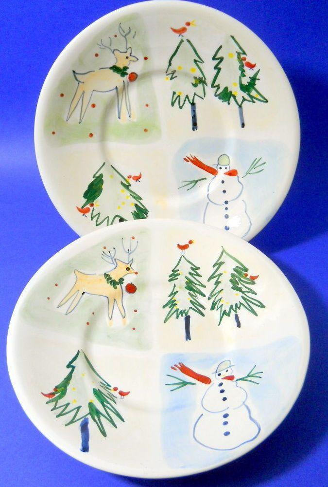 Set of 2 Eddie Bauer Christmas Bowls Holiday Reindeer Snowman Trees ...